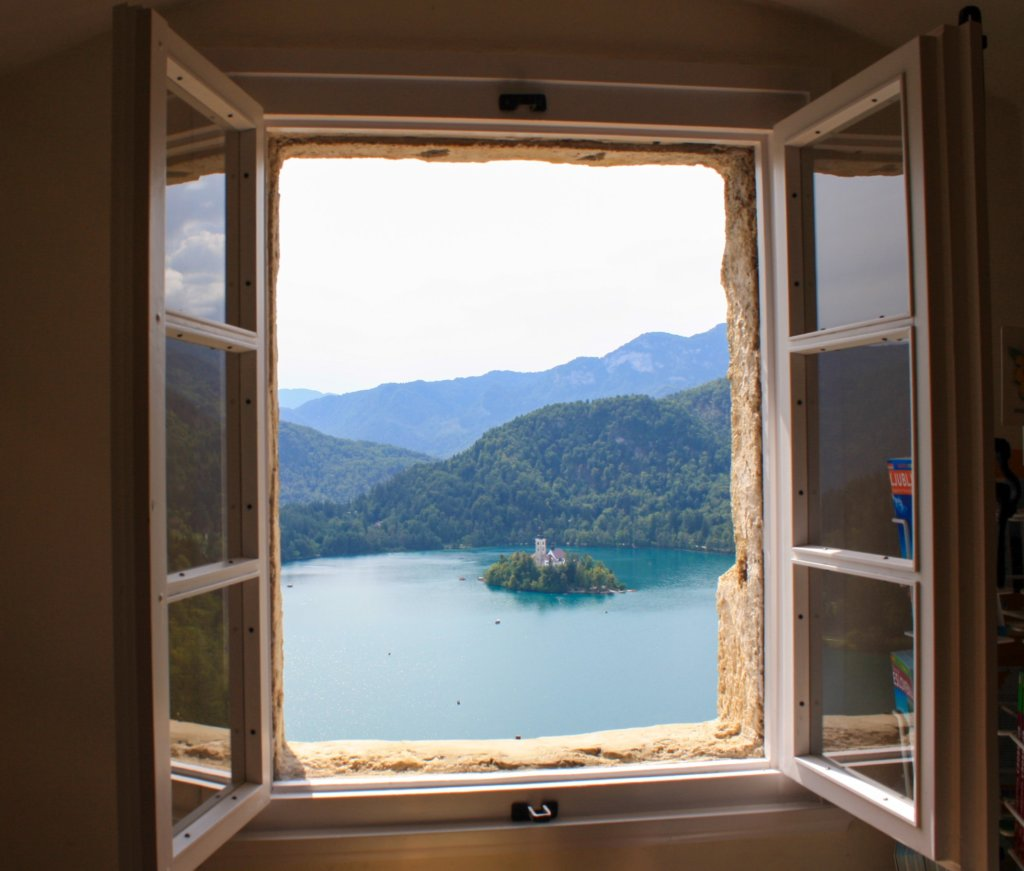 Lookinging at Lake Bled through a window