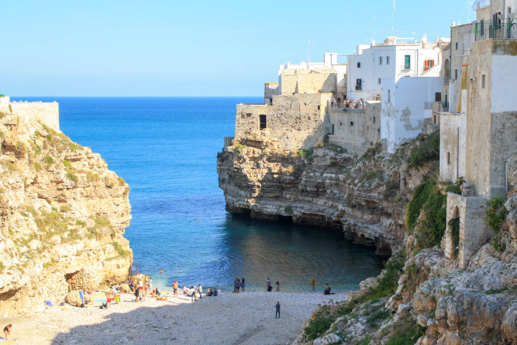 View of the beach at Polignano A Mare