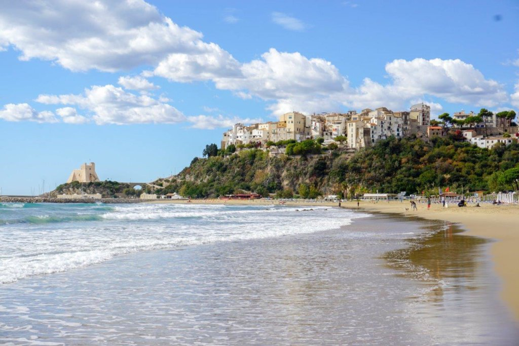 A view from the beach up to the old town of Sperlonga