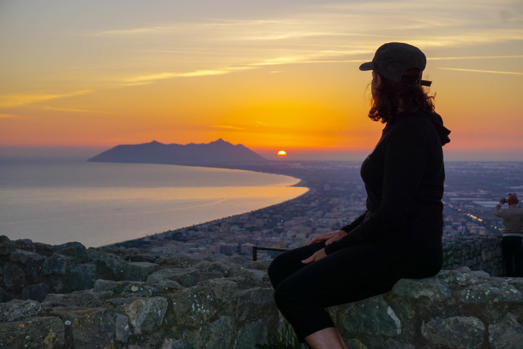 Sunset view of Circeo National Park from Terracina