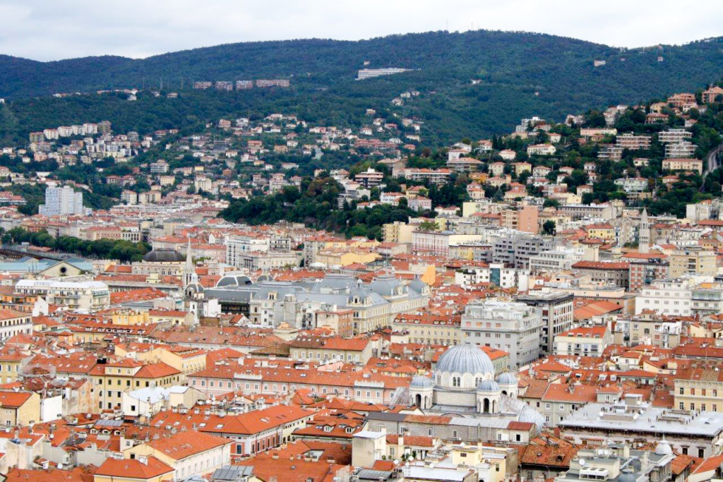 View of inner city buildings of Trieste from San Gusto Castle