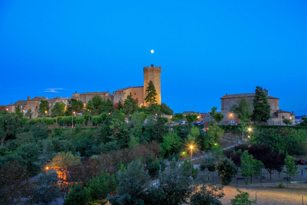 Blue night sky with a castle